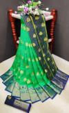 Green color soft lichi silk Weaving Jequard work saree