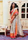 Cream color Soft cotton silk Jacquard work saree