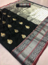 Black color Kanjivaram Soft Silk Zari work saree