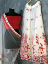 Red Color Net Embroidery Work Lehenga