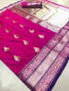 Pink color Kanjivaram Soft Silk Zari work saree