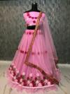 Pink color Banglori Satin Silk Embroidered Lehenga