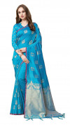 Sky blue color cotton silk gold zari work saree