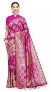 Pink color soft cotton silk woven work saree