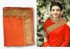 Orange color sana silk border work saree