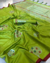 Green color soft cotton silk weaving work saree