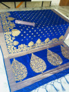 Royal blue color Soft Cotton Silk zari woven work saree