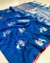 Sky blue color soft cotton silk weaving work saree