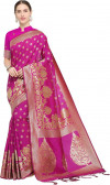 Pink color Soft Cotton Silk zari woven work saree