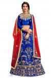 Blue color silk Embroidered Lehenga