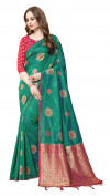 Rama green color cotton silk gold zari work saree