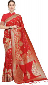 Red color Soft Cotton Silk zari woven work saree