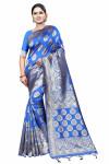 Royal blue color soft cotton silk woven work saree