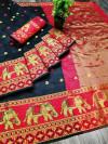 Black color Soft Cotton Silk Zari Woven saree