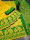 Yellow color Soft Cotton Silk Zari Woven saree