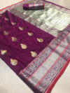 Wine color Kanjivaram Soft Silk Zari work saree