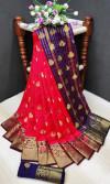 Red color soft lichi silk Weaving Jequard work saree