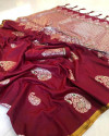 Maroon color soft cotton silk weaving work saree