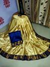 Yellow color paper silk woven design saree