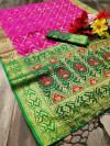 Pink color Pure banarasi lichi silk woven design saree