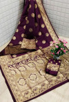 Purple color Banarasi Silk zari work saree