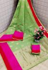 Green color Soft cotton silk Jacquard work saree