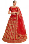 Red color silk Embroidered Lehenga