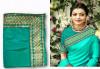 Rama green color sana silk border work saree