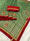 Green color Vichitra Silk Embroidered saree