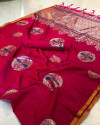 Pink color soft cotton silk weaving work saree