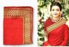 Red color sana silk border work saree