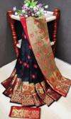 Black color soft litchi silk Weaving Jequard work saree