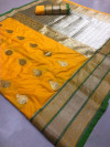 Yellow color Kanjivaram Soft Silk Zari work saree