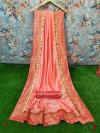 Peach color Vichitra Silk Woven Design saree