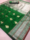 Green color Kanjivaram Soft Silk Zari work saree