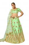 Green color silk Embroidery work Lehanga