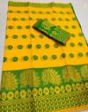 Yellow color Rich cotton silk Weaving Jequard work saree