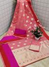 Pink color Soft cotton silk Jacquard work saree