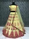 Yellow color Taffeta Embroidery Work Lehengas