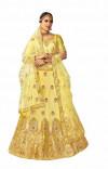 Yellow color silk Embroidery work Lehanga