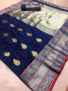 Blue color Kanjivaram Soft Silk Zari work saree