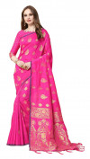 Pink color cotton silk gold zari work saree
