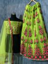 Green color Taffeta Embroidery Work Lehengas