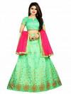 Green color Banglori Silk Embroidered Lehenga