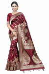 Maroon color Soft Cotton Silk zari woven work saree