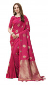 Red color cotton silk gold zari work saree