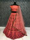 Pink color Taffeta Embroidery Work Lehengas