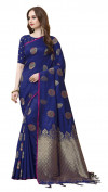 Navy blue color cotton silk gold zari work saree
