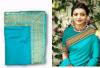 Sky blue color sana silk border work saree