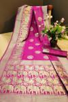 Pink color Pure kora silk woven design saree